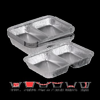Алюминиевые контейнеры SPM2L 520/320 мл 100 шт/уп многосекционные