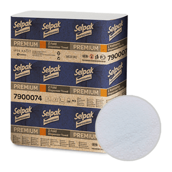 Полотенца листовые белые ZZ-сложение 2х-слойные 200 шт/уп Selpak Professional Extra