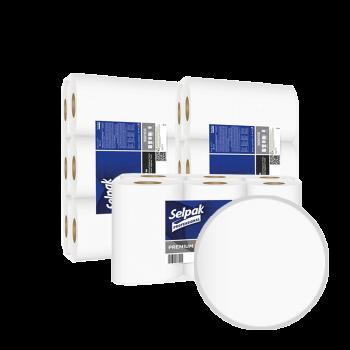 Полотенца с центральной вытяжкой белые 1-слойные 140 м 9 рул/уп Selpak Premium