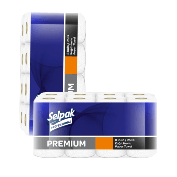 Полотенца рулонные кухонные белые 3х-слойные 11,25 м 8 рул/уп Selpak Professional Premium