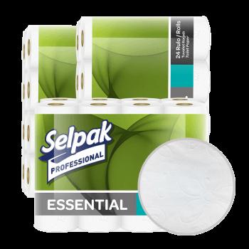Туалетная бумага 2х-слойная белая в рулонах 22,3 м 24 шт/уп Selpak Professional Essential