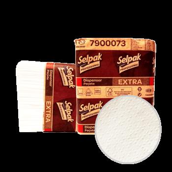 Салфетки для диспенсера 1-слойные белые 2 сложения 250 шт Selpak Professional Extra