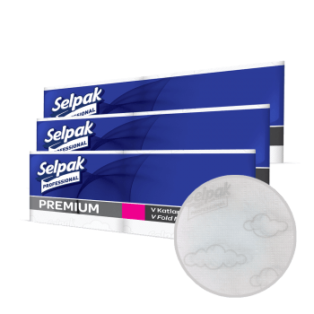 Салфетки для диспенсера 1-слойные белые 3 сложения 250 шт Selpak Professional Premium