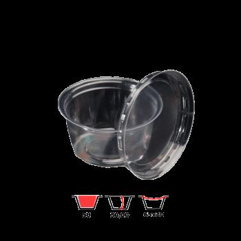 Одноразовый пластиковый соусник с крышкой ПС390 50 мл 50 шт/уп PET PRO Service