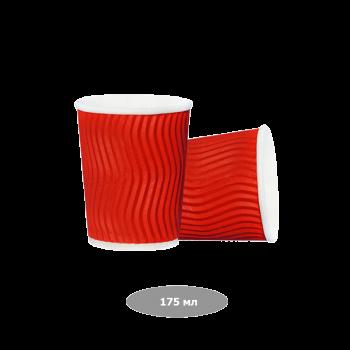 Pro Service  Стаканы бумажные 175 мл, красные Riple 20 шт/уп