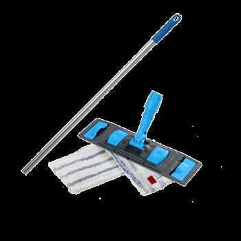 Швабра-Флаундер плоская 40 см с двойной насадкой из микрофибры для влажной уборки пола Легкое скольжение