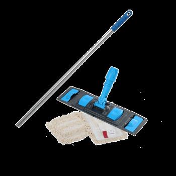 Швабра-Флаундер плоская 40 см с комбинированной насадкой из хлопка и микрофибры для влажной уборки пола