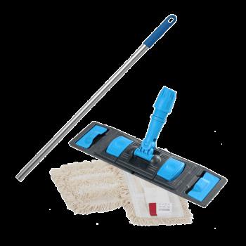 Швабра-Флаундер плоская 50 см с комбинированной насадкой из хлопка и микрофибры для влажной уборки пола