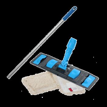 Швабра плоская для влажной уборки пола флаундер с насадкой из хлопка 50см